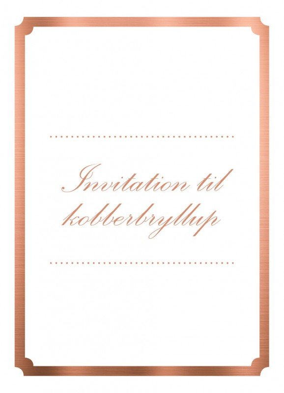 kobberbryllup invitation