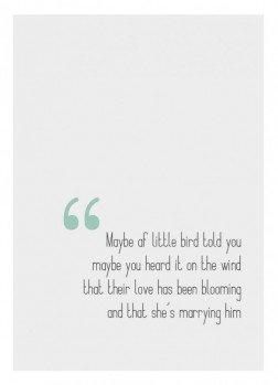 Bryllupskort, citat, typografi, 13x18 cm