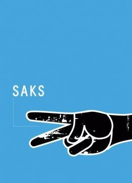 Dekorationskort, illustration, typografi, Sten saks papir, Saks 13x18 cm