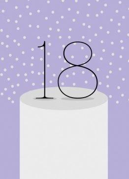 Fødselsdagskort, lykønskningskort, 18 år, lilla, illustration, 13X18