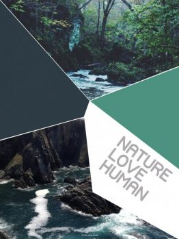 plakater, typografi, Nature, Love, Human, grøn, 30x40 cm