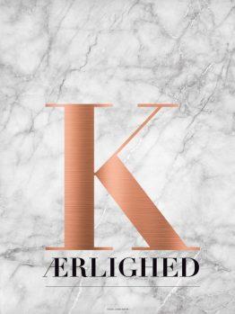 plakater, kobber, marmor, typografi, kærlighed, 30x40 cm
