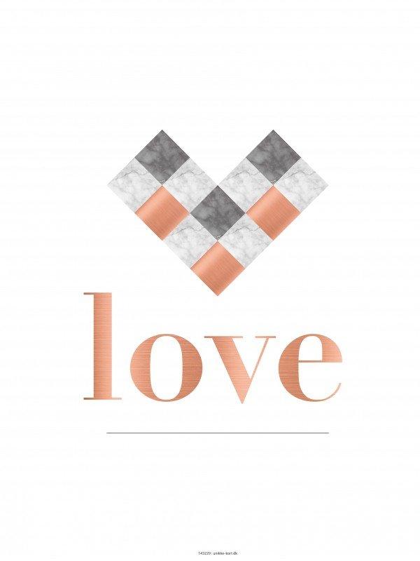 plakater, flettet hjerte, kobber, typografi, 30x40 cm