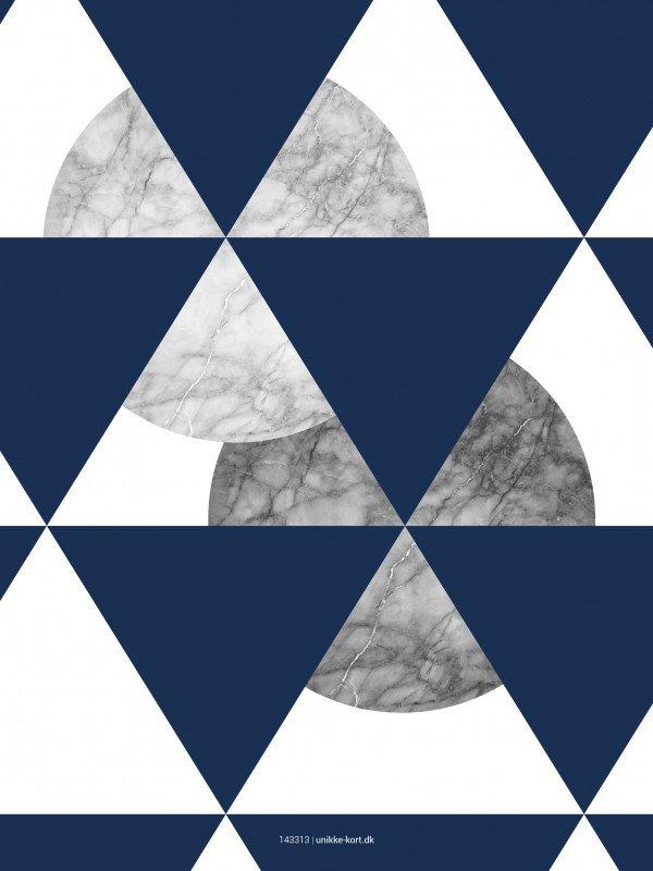 Plakater, Geometri, Cirkler, marmor, blå, 30x40 cm