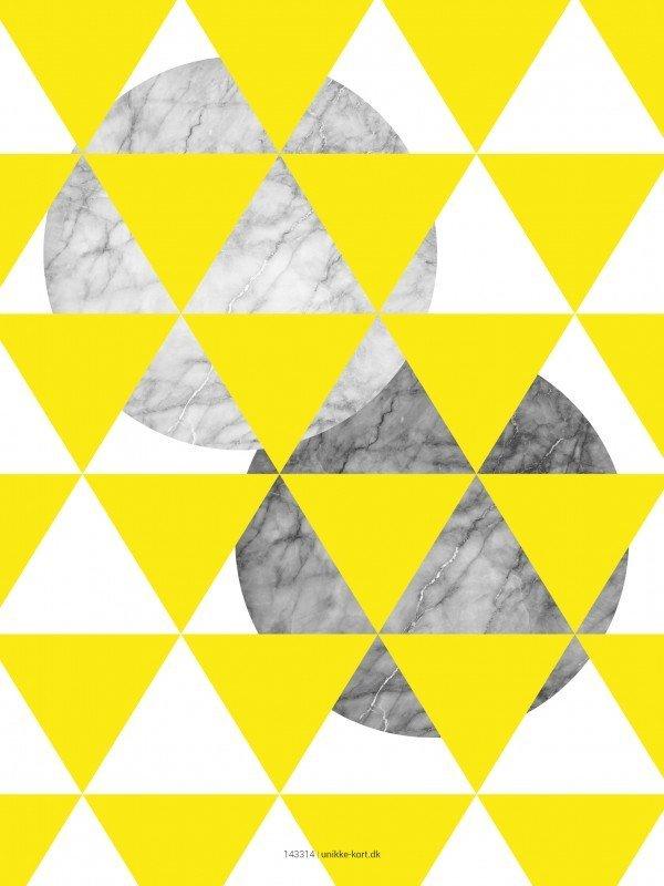 Plakater, Geometri, Cirkler, marmor, Gul, 30x40 cm