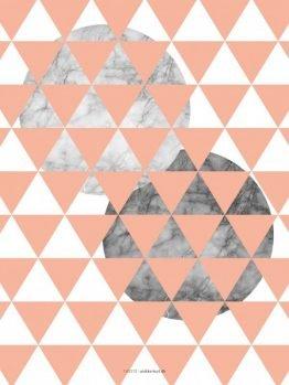 Plakater, Geometri, Trekanter, marmor, rosa/fersken 30x40 cm