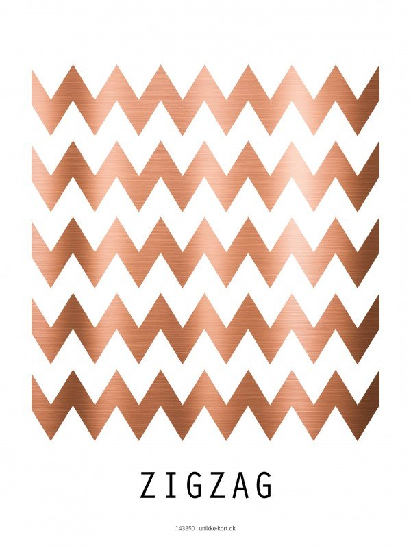 Plakter, illustration, kobber, zigzag 30x40 cm