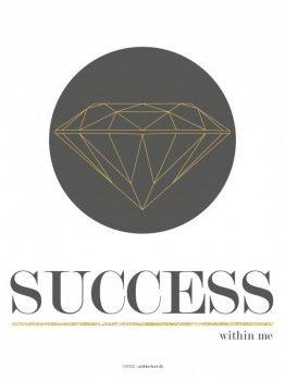 Plakter, typografi, illustration, Diamant 30x40 cm