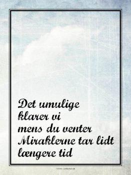 Plakter, typografi, Citatplakat, Mirakler 30x40 cm