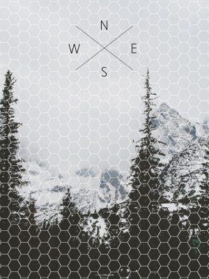 Plakater, geometri, billede af bjerge, typografi, 30x40 cm