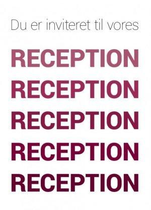 Du er inviteret, reception, rød - Invitation