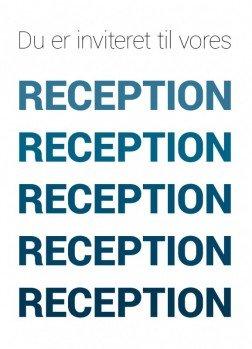 Du er inviteret, reception blå - Invitation