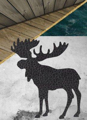 Elg, beton, læder - Julekort