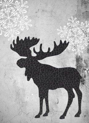 Elg, iskrystaller, læder - Julekort