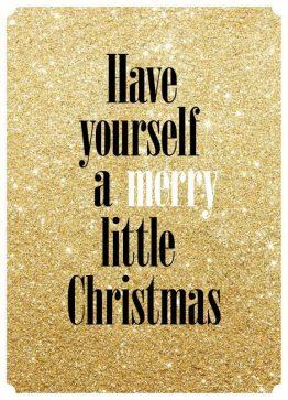 Merry little christmas, guld - Julekort