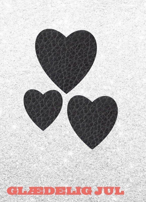Hjerter, læder, sølv - Julekort