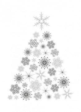 Juletræ, sort/hvid - Julekort