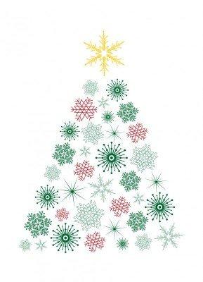 Juletræ, grøn & rød - Julekort