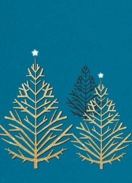 Juletræer, guld - Julekort
