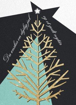 Juletræ i guld - Julekort