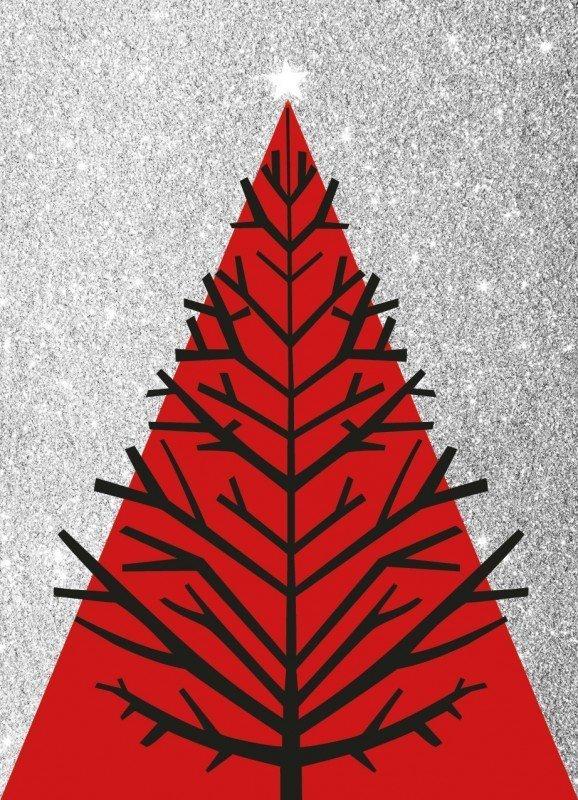 Juletræ - Sølv - Julekort