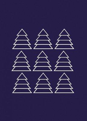 Juletræer, blå - Julekort