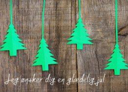 Juletræer på snor - Julekort