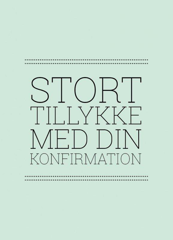 Lykønskning, turkis - Konfirmationskort