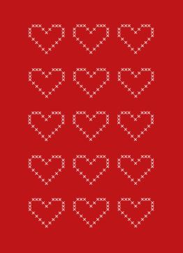 Julehjerter, korssting - Julekort