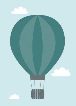 Luftballon, grøn - Lykønskning/dekorationskort/dåbsinvitation