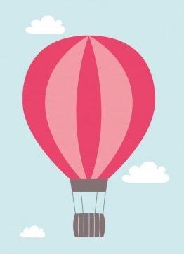 Luftballon, rød - Lykønskning/dekorationskort/dåbsinvitation