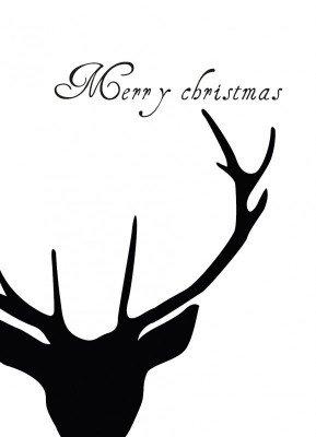 Hjort, sort/hvid - Julekort