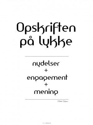 Plakater, Citat plakat, typografi, lykke, hvid, 30x40 cm