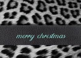Merry Christmas, pels, læder - Julekort