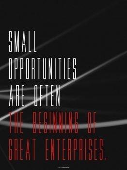 Plakater, citat plakat, Small opportunities, 30x40 cm