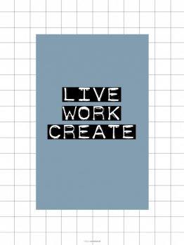 Plakat, Typografi, Geometri, Live, 30x40 cm